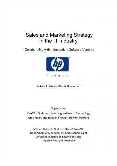 it industry sales and marketing strategy plan