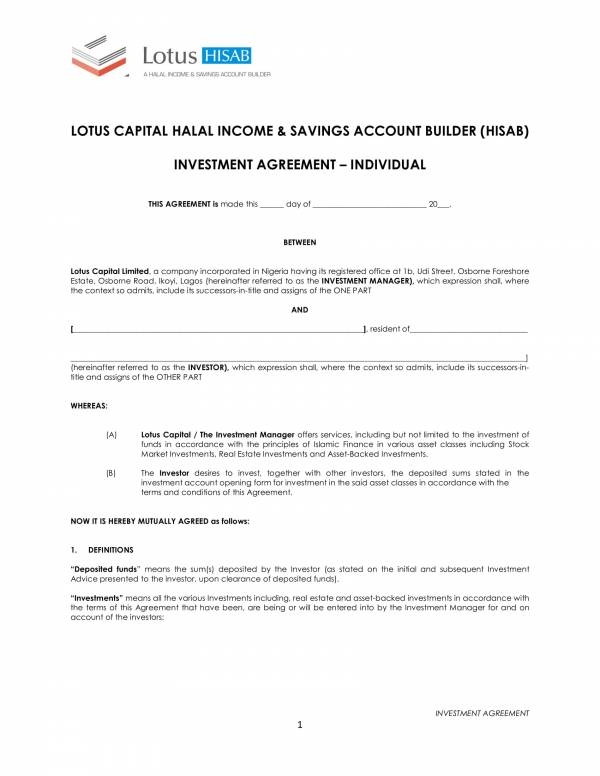 individual investment agreement contract template 1