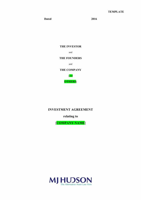 investment agreement contract template 01