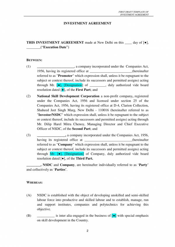investment contract first draft template 02