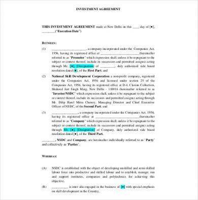 investment management contract template