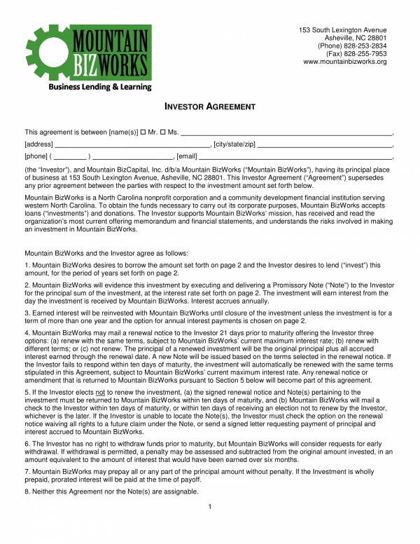 leniding business investor agreement contract template 1