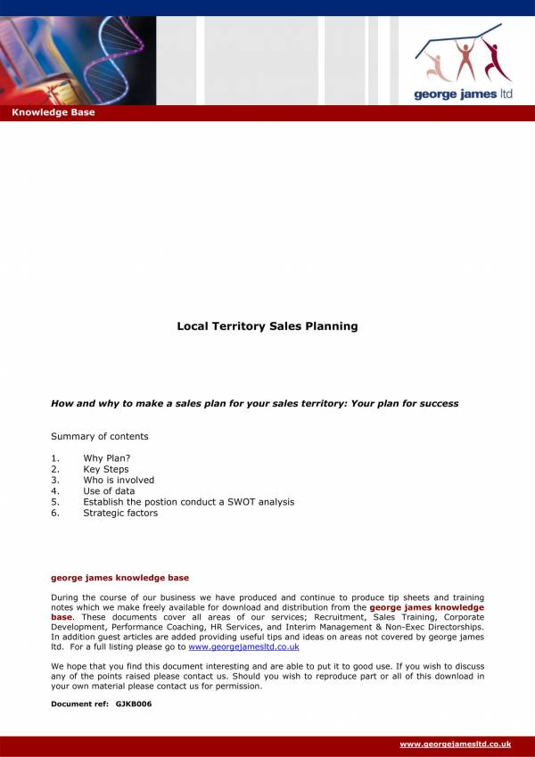 local territory sales plan template 1