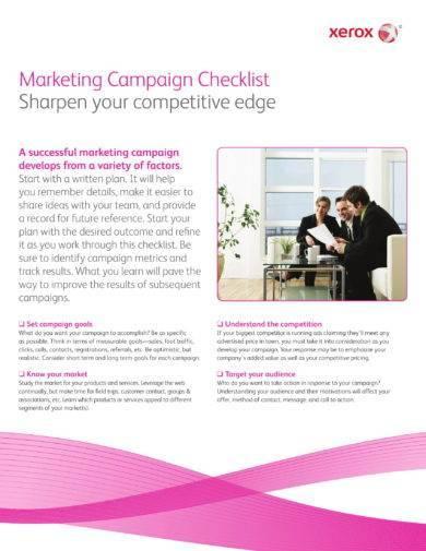 marketing campaign proposal checklist