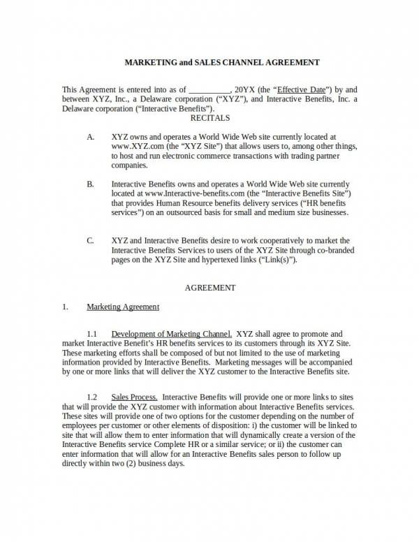 marketing services and sales agreement template