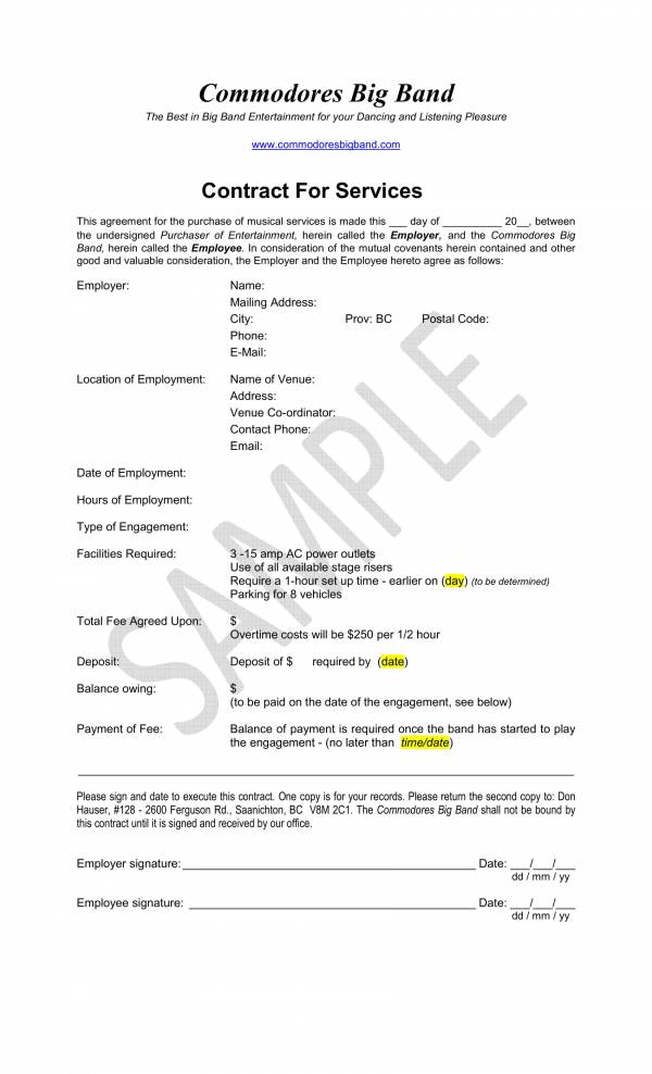 music band contract for services template 1