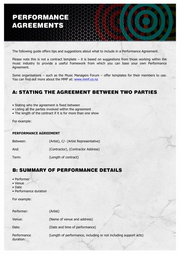 music band performance contract template 1