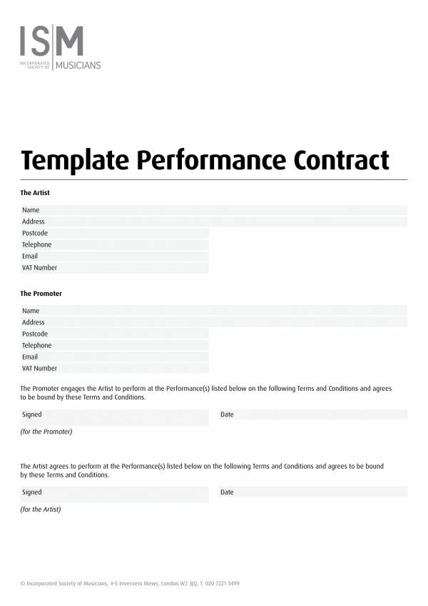 musicians performance contract template 1