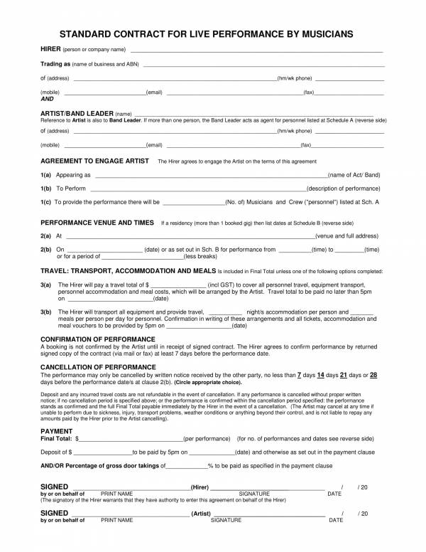 musicians standard contract for live performance sample template 1