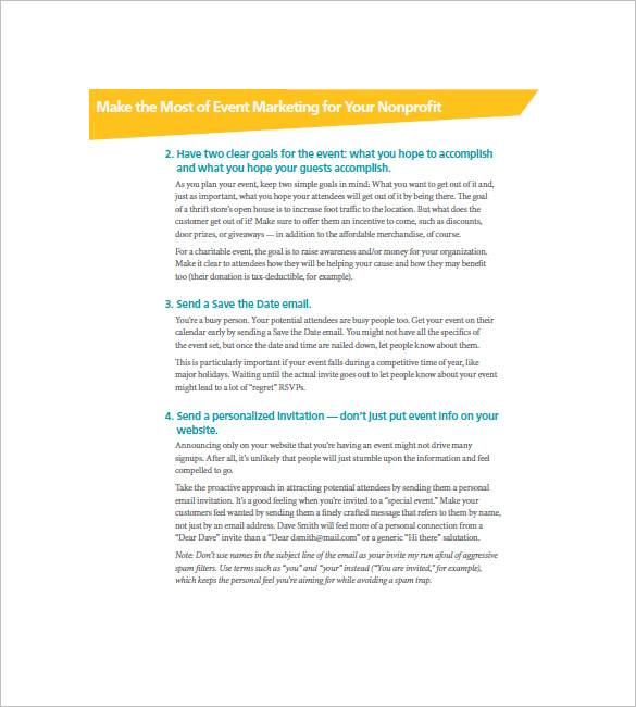 non profit event marketing plan template