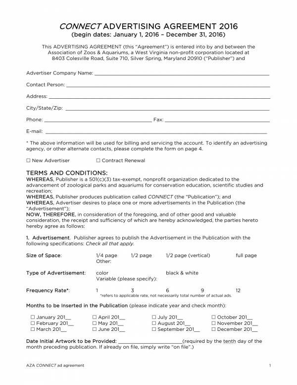 non profit organization advertising agreement 1