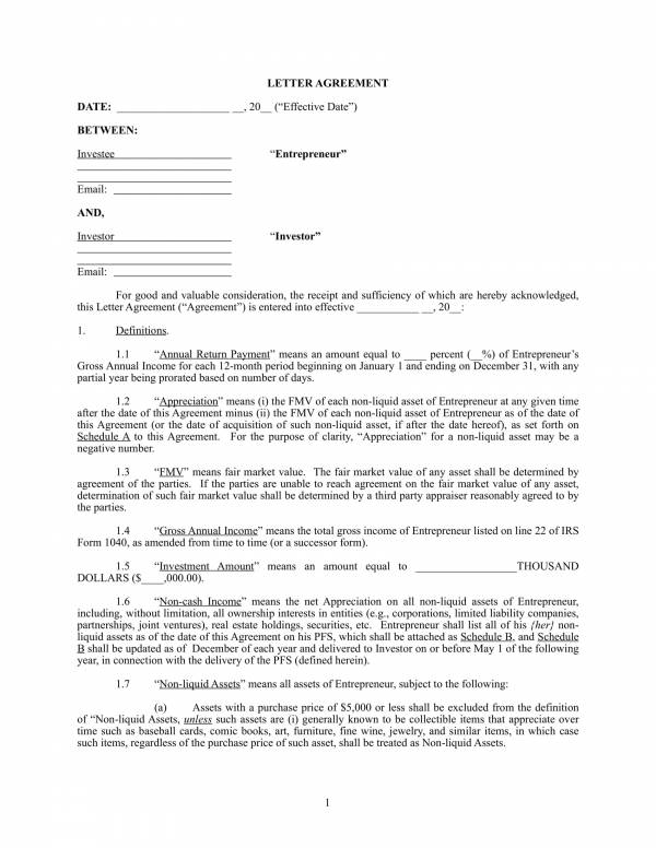 personal investment contract template 1