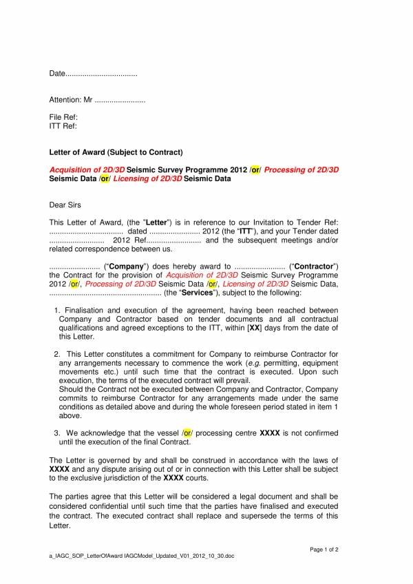 printable awarding contract letter template 1