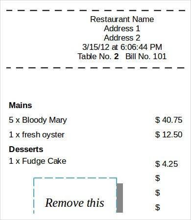 printable restaurant sales service receipt template