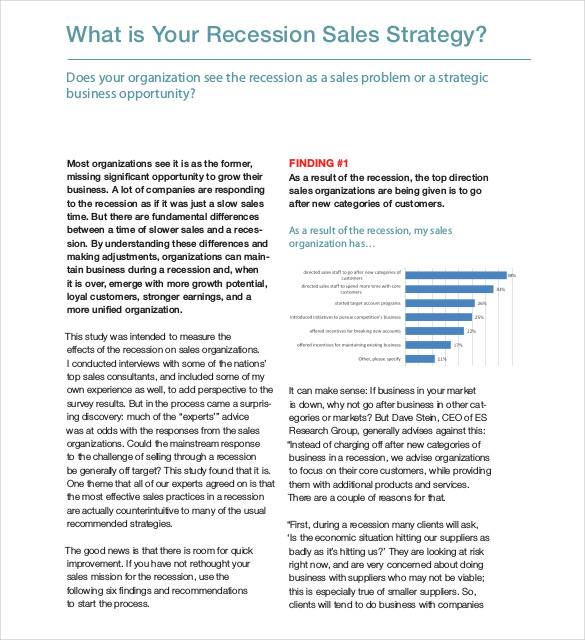 recession sales strategy template
