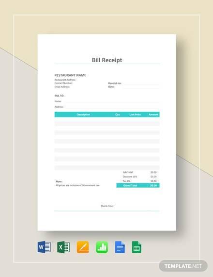 restaurant bill receipt template1
