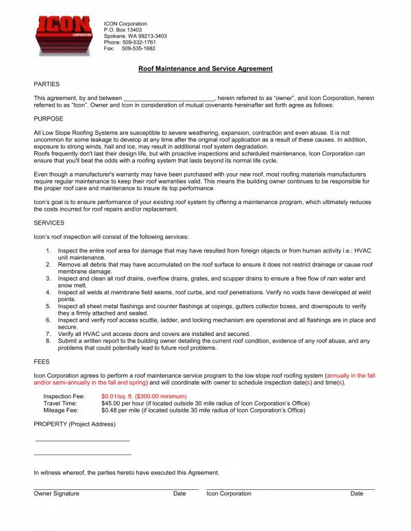 roof maintenance agreement contract template 1