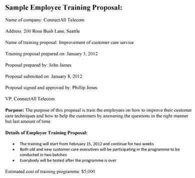 sales employee training proposal sample template