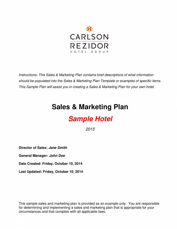 sales and marketing plan sample for hotel 01