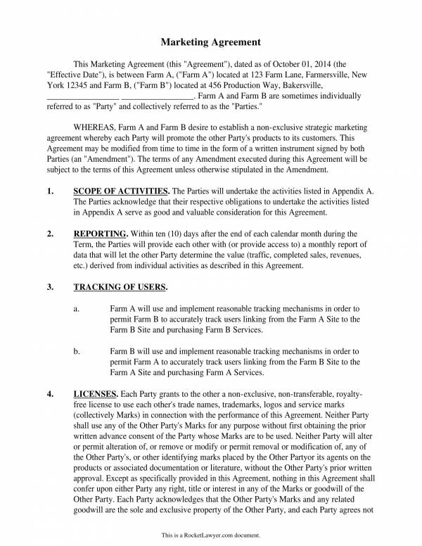 sample collaborative marketing services agreement template 1
