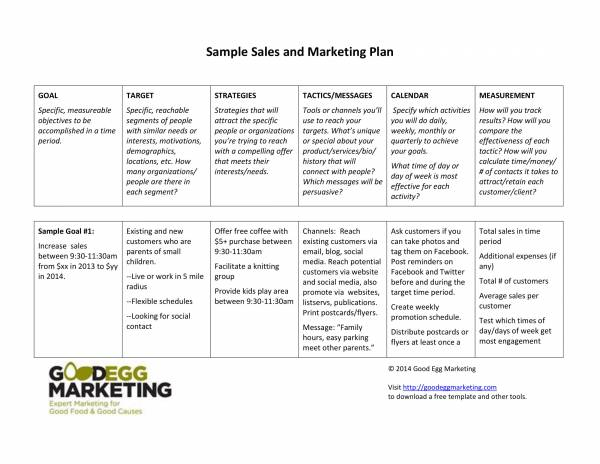 sample sales and marketing plan template 1