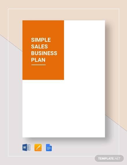 simple sales business plan template