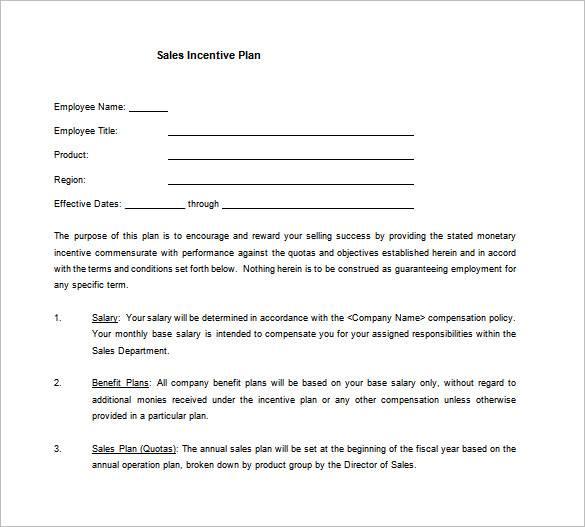 simple sales incentive plan template