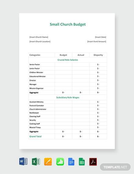 small church budget sample
