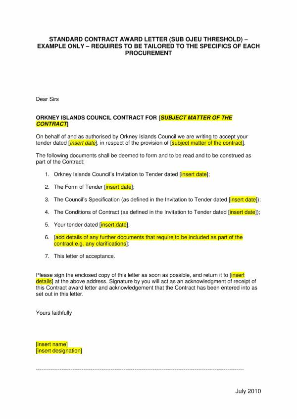 standard contract award letter template 1