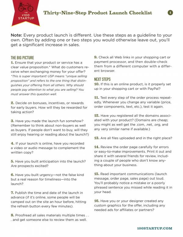 thirty nine step product launch checklist 1
