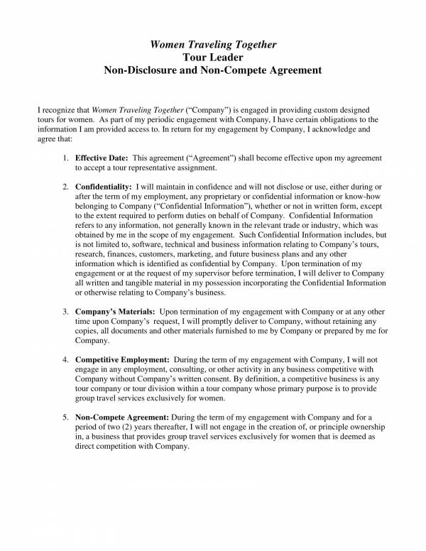 Free 22 Non Disclosure And Non Compete Agreement Template