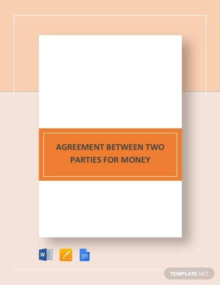 agreement between two parties for money
