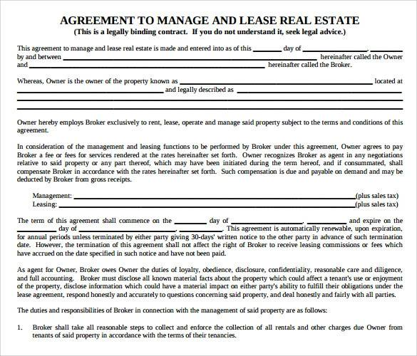 agreement to manage and lease real estate