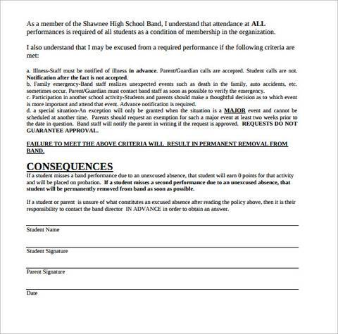 band attendance contract template