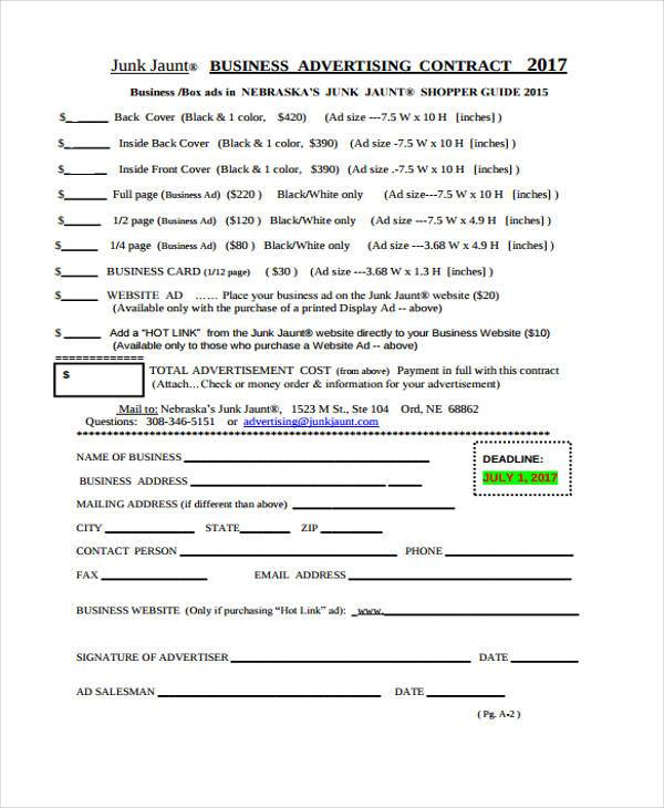 business advertising contract template