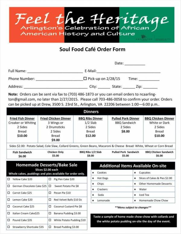 cafe food order form template