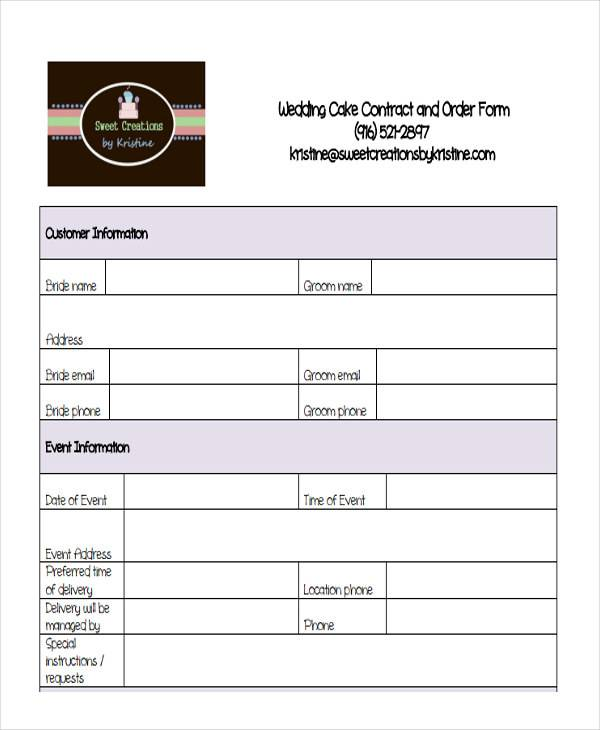 cake contract and order form template