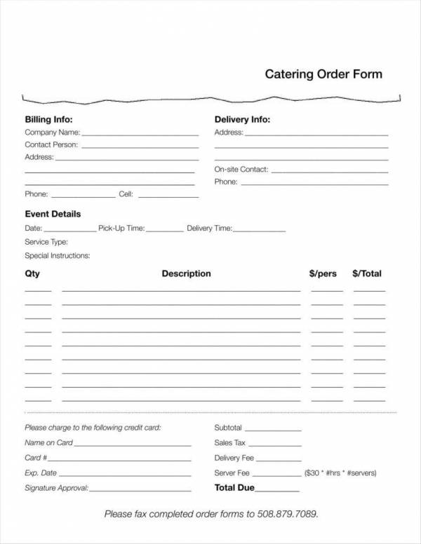 catering food order template