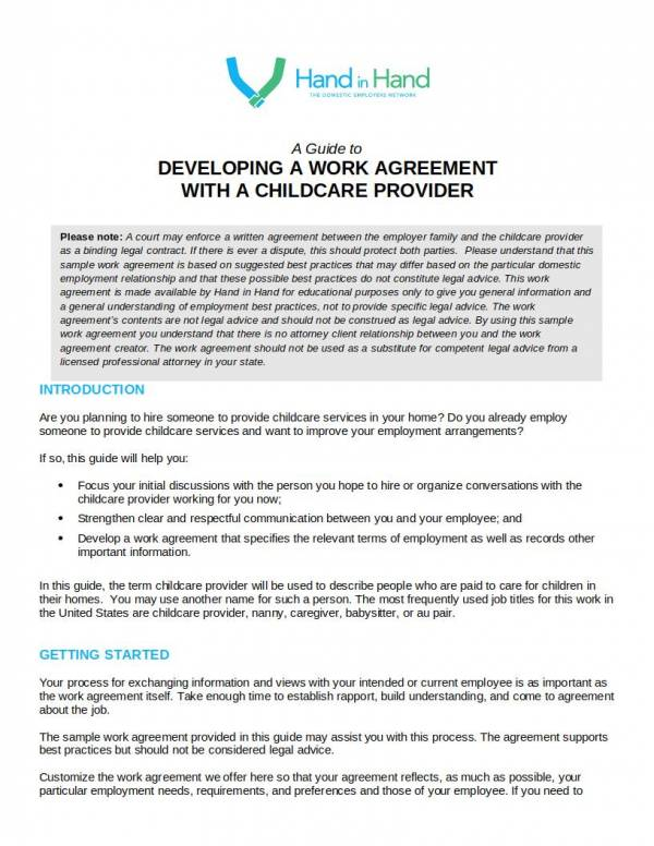 child care provider work agreement template