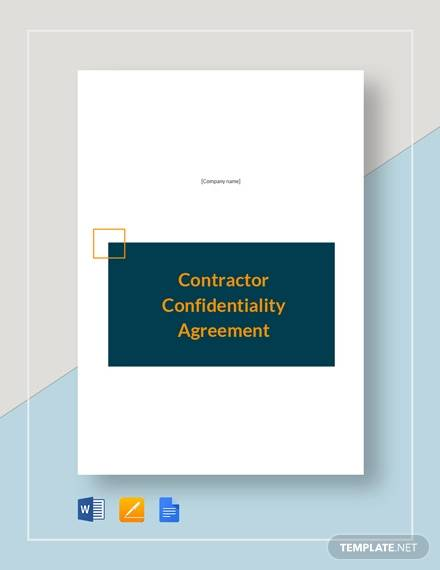 contractor confidentiality agreement template1