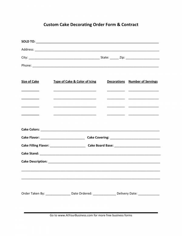 custom cake decorating order form contract template 1