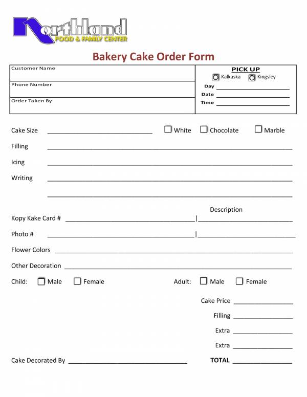 custom cakes bakery order form template 1