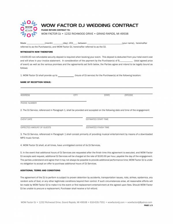 dj services contract template for wedding 1