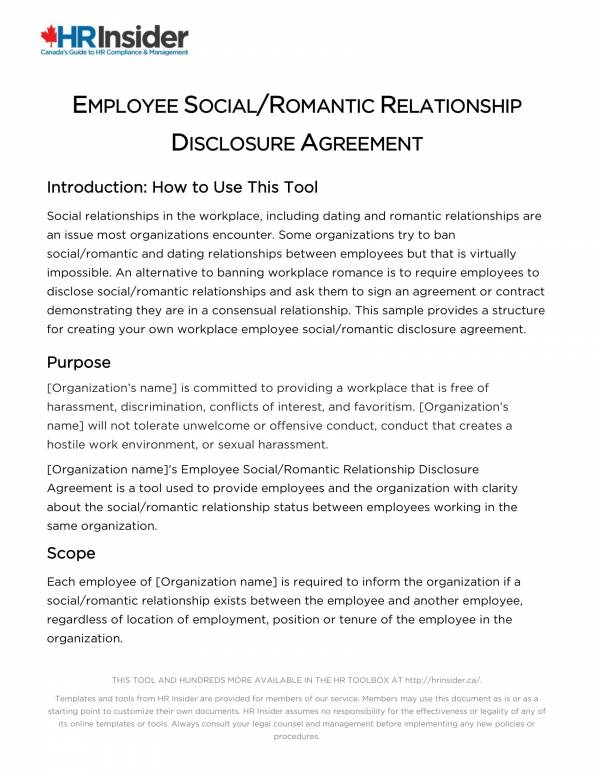 employee social or romantic disclosure agreement 1