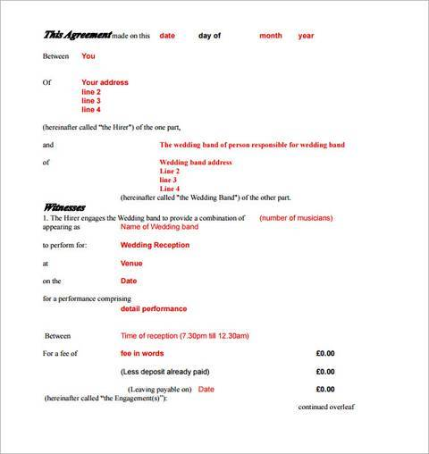 engagement band contract template