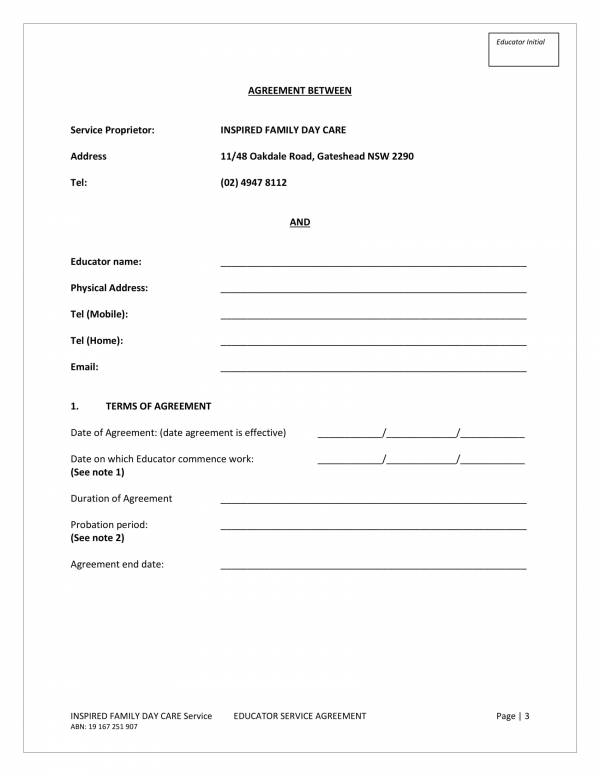 family day care educator service agreement template 03