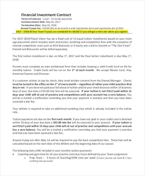 financial investor contract template