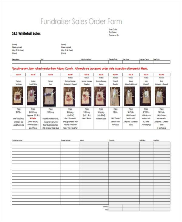 fundraiser sales order template
