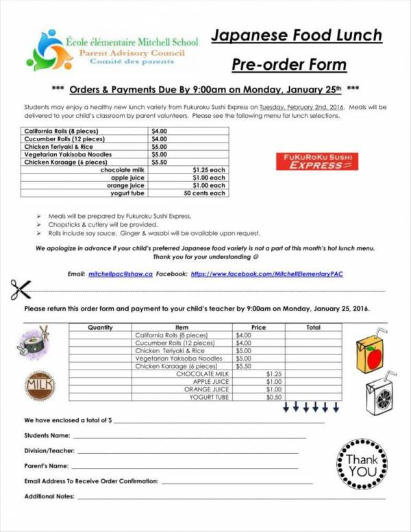lunch food order form template