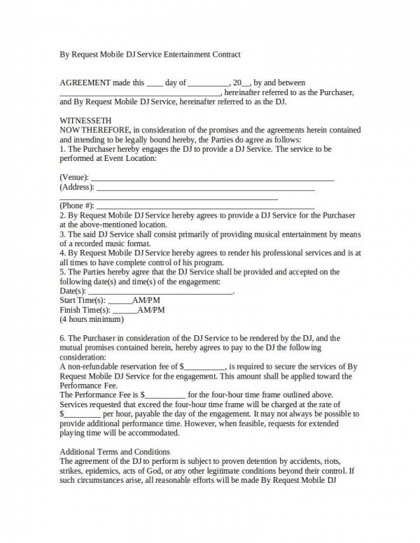 mobile dj agreement contract template